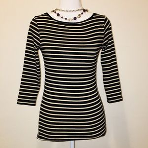 Zara Basic Organic Cotton Striped 3/4 sleeve top